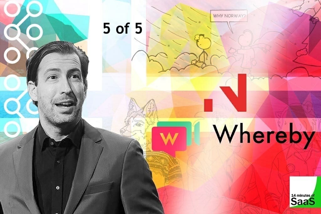 Sean Percival in a collage with images of his book on Norwegian culture, and a logo of the company he works for Whereby - indicating part 5 of this 14 Minutes of SaaS mini-series