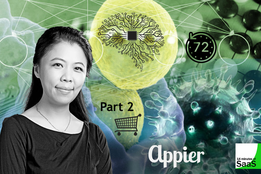 Winnie Lee, Appier COO and Cofounder, with an image referencing her background in immunology, her 72 hiur week and her AI powered startup that enables better decision making for marketing